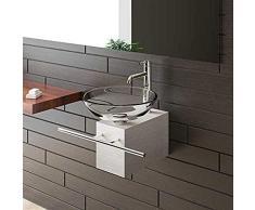 Alpenberger Aufsatzwaschbecken Klar Glaswaschschale Ø 42 cm mit Edelstahlkasten und Handtuchhalter