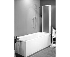 Badewannenaufsatz,Badewannenwand, Badewannenabtrennung, Höhe 140 cm, Breite 134 cm, aus Acrylglas, 3 Falttüren,Profile Weiß