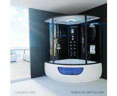 TroniTechnik Dampfdusche Duschtempel Whirlpool Badewanne Komplettdusche Duschkabine Dusche 150x150 schwarz
