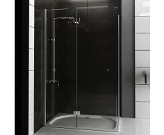 Walk in Dusche ca. 120x80x200 cm Eckeinstieg Duschkabine klares Sicherheitsglas, Duschabtrennung mit Nanobeschichtung Tür mit Seitenwand Schwingtür von Alpenberger