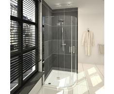 saniclass cansano Duschkabine Viertel rund mit 2 schwenkbaren Türen 90 x 90 x 198.5 cm mit Duschwanne, 3,5 cm und Glas klar chrom
