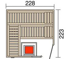 Weka 58 mm Wellnissage Massivholzsauna Terra II Eckeinstieg Set mit 9,0 KW BiOs Ofen, braun, 223 x 262 x 216 cm, 572.2522.00.60