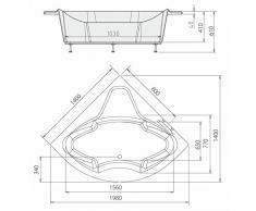 Eckbadewanne SIMONA 140x140x44cm, weiß, mit Styroporträger und Ablaufgarnitur mit Sifon