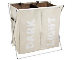 Wenko 3440112100 Wäschesammler Duo-/Wäschekorb Fassungsvermögen: 120 l, 59 x 57 x 38 cm, beige