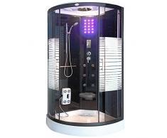 Home Deluxe - Dampfdusche 100x100 - Komplettdusche Black Pearl mit Regendusche | Duschtempel, Fertigdusche, Dusche, Duschkabine Komplett