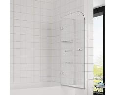 Elegant 90x120 cm(BxH) Badewannenaufsatz Duschabtrennung, 2-teilig faltbar Duschwand für Badewanne mit Handtuchhalter