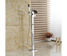 Gowe Boden montiert Wasserfall Badewanne Wasserhahn mit Handbrause Badewanne Armatur Freistehend