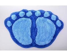 Ppower Schöne Fuß-förmigen Rutschfest Badteppiche Plüsch Badteppich Schlafzimmer Teppich Fußabtreter Bodenmatte (Blau)