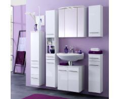Held Möbel 173.2096 Small Spiegelschrank , 3 türig / 6 Einlegeböden / 2 Halogenstrahler / 60 x 64 x 20 cm / weiß