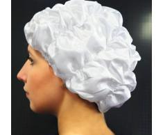 Fantasia Duschhaube Weiß, Premium Polyester Satin (vegan), wasserdicht, elastisch und mehrweg, auch als Schlafhaube und Schlafmütze geeignet
