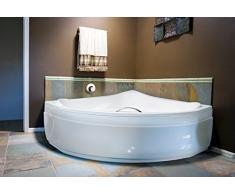 EXCLUSIVE LINE® Eckbadewanne Eckige Acryl Badewanne EVA 134x134 cm mit Schürze Ablaufgarnitur Komplettset
