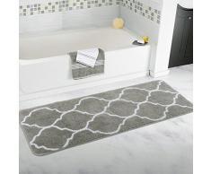 Homcomoda Rutschfeste Badematte Mikrofaser Badteppiche Absorbent Badvorleger für Badezimmer Öko-Tex 100 zertifiziert Duschvorleger Küchenbodenmatten 45 x 120 CM (Grau)