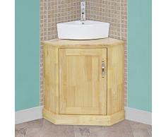 Blupp Badezimmer Ecke Waschkommode U0026 Eck Spüle Keramik, Single Eiche Massiv  Unterschrank U0026 Waschbecken,