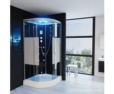 Dampfdusche Regendusche Duschkabine mit LED Massage Sitz Duschhimmel 1HG01 (100x100)