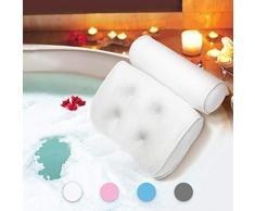 Badewannenkissen Essort Komfort Badekissen Wannenkissen mit Saugnäpfen, Ergonomische Home Spa Kopfstütze für Badewanne, Whirlpool, 38 X 36 X 8,5 cm weiß