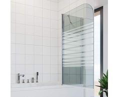 SONNI Duschwand für Badewanne 120x140cm (HxB),Badewannenaufsatz 2-teilige Duschabtrennung für Badewanne mit Milchglas Streifen mit Stabilisator, Duschwand Well