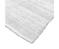 Badematten Badezimmermatte Badteppiche Baumwolle in Uni versch. Farben u. Größen, Grösse:60x100 cm;Farbe:Weiß