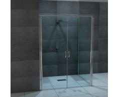 Design Glas Eckdusche mit Pendeltür | Lotuseffekt | 80 x 195cm + Seitenwand 80 x 195cm