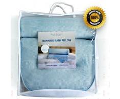 Bonnieu Luxus Badewannenkissen aus der Blue Coast Collection für die Badewanne und den Spa! Starke Saugnäpfe und optimaler Halt für Nacken und Schultern. Ideal für alle Badewannen, Whirlpools und Hottubs! Weiche Textilfasern,