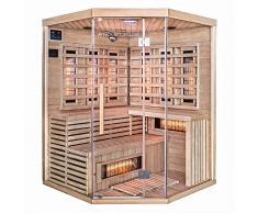 Home Deluxe – Infrarotkabine – Sahara XXL – Vollspektrumstrahler – Holz: Hemlocktanne - Maße: 150 x 150 x 200 cm – inkl. vielen Extras und komplettem Zubehör