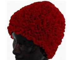 Fashy Damen Badehaube Rüschen, rot, 3448