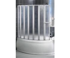 Schulte D1317 Badewannenfaltwand Badewannenaufsatz Duschwand 7-tlg. 1590x1400, Echt- oder Kunstglas