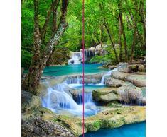 ORIGINAL plateART Eck-Duschrückwand, Rückwand Dusche Alu OHNE FUGEN, Fliesenspiegel, Fliesenersatz, Wasserfall-Motiv im Wald