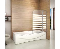 Duschabtrennung Badewannenaufsatz 120x140cm Duschwand Badewanne 6mm Nanobeschichtung Satiniert Sicherheitsglas Querstreifen mit Handtuchhalter Rechts