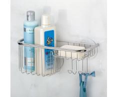 iDesign Forma Ultra Duschablage, Duschkorb mit Seifenablage aus Edelstahl und Kunststoff mit Saugnäpfen, silberfarben