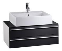 CAVADORE Waschtisch SLEEK 09 / Moderner Bad Unterschrank für Waschbecken mit zwei Schubkästen / Front in Hochglanz Schwarz / Korpus Melamin weiß / Ablage aus Glas schwarz / 46 x 80 x 33 cm (TxBxH)