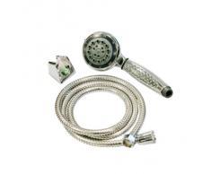 axentia Duschkopf mit Schlauch in Silber, Duschbrause mit 5 Funktionen, Dusch-Set mit Edelstahlschlauch, Handbrause mit 1/2 Zoll-Anschluss