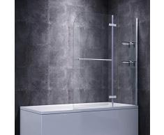 SONNI Duschwand für badewanne 120x140cm (BxH) mit Handtuchhalter + Eckregal,Duschwand Badewannenaufsatz, Duschtrennwand