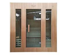Mendler Sauna HWC-D59, Saunakabine Wärmekabine, Saunaofen 4,5kW Saunasteine Sicherheitsglas 4 Personen 200x175x160cm