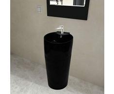 mewmewcat Keramik Standwaschbecken Rund Waschbecken Handwaschbecken mit Hahn/Überlaufloch 400 x 415 x 860 mm Schwarz Durchmesser der Abflussöffnung 4,5 cm
