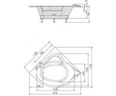 Eck Badewanne Sissy 130 x 130 cm weiß Acryl Komplettset mit Wannenträger und Ablaufgarnitur