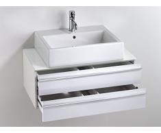 CAVADORE Waschtisch SLEEK 09 / Moderner Bad Unterschrank für Waschbecken mit zwei Schubkästen / Front in Hochglanz Weiß / Korpus Melamin weiß / Ablage aus Glas weiß / 46 x 80 x 33 cm (TxBxH)
