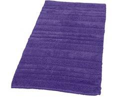 Paco Home Badematten Badezimmermatte Badteppiche Baumwolle in Uni versch. Farben u. Größen, Grösse:60x100 cm, Farbe:Lila