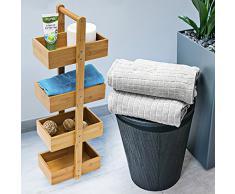 Relaxdays Bambus Badregal H x B x T: 75 x 25 x 18 cm Praktisches Badezimmerregal als Ablageständer mit 4 Körben als Bambus-Butler Korbregal aus natürlichem Holz für Badezimmer und Feuchträume, natur