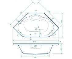 Acryl Badewanne Wanne Eckwanne Eckbadewanne 150 x 150 inklusive Ablauf und Überlauf und Füßen