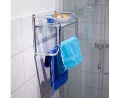Relaxdays 10019264 Wandregal aus Edelstahl mit Handtuchhalter und Glas-Ablage, Badregal mit 2 Handtuchstangen und verchromter Oberfläche, Stellfläche aus Glas in modernem Stil, 34 x 45 x 23 cm, silber