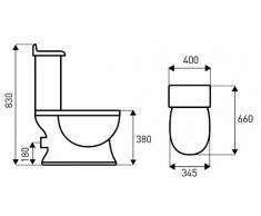 Nostalgie Retro Wc Toilette Stand komplett set mit Spülkasten KERAMIK Inkl.Sitz