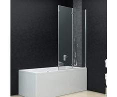 vidaXL Duschkabine 3-tlg. Duschwand Faltwand Duschabtrennung Badewannenaufsatz Badewanne ESG 6 mm Sicherheitsglas 130x138 cm Verstellbereich von 130-131 cm Faltbar