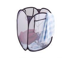 axentia 116723 Wäschebox Pop-up, faltbare Aufbewahrungsbox, Wäschesack als Möbel und Wohnaccessoire für Küche und Haushalt verwendbar, praktischer Wäschesammler aus flexiblem Polyester mit Feder, ca. 32 x 32 x 58 cm, blau