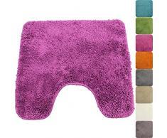 PROHEIM WC-Vorleger Lasalle mit Ausschnitt 45 x 50 cm Purple - Rutschfester Badteppich - Weicher und Kuscheliger Hochflor Badvorleger - 1200g/m² ÖkoTex100 Maschinenwaschbar