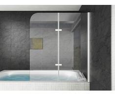 Badewanne Austin 5mm mit Nanobeschichtung 120 x 140 cm Duschwand Duschabtrennung Badewannenaufsatz