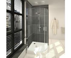 saniclass cansano Duschkabine Viertel rund mit 2 schwenkbaren Türen 90 x 90 x 208.5 cm mit Duschwanne, 13,5 cm und Glas klar chrom