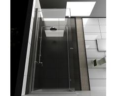 Duschkabine 80x80x200 cm mit Glasveredelung Eck Dusche mit Seiteneinstieg, Rahmenlose Duschabtrennung mit Drehtür Dusche von Alpenberger