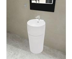 mewmewcat Keramik Waschbecken Säule Bad Standwaschbecken Stand Waschtischsäule Rund Weiß 400 x 415 x 860 mm