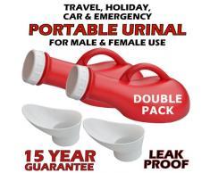 Unisex TRAGBARES URINAL – AuslaufSICHER – Drehverschluss – Toll für Kinder, Ältere, im Auto behalten während der Reise oder im Urlaub (2 Urinale - Rot)