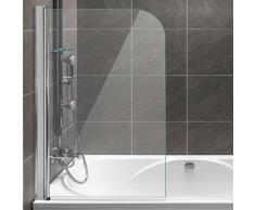 Homelux Badewannenaufsatz Badewannenfaltwand Faltduschwand (B x H) 80 X 130 cm, Sicherheitsglas 6 mm mit Lotuseffekt